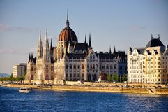 The Hungarian Parliament Building in Budapest, Hungary. The sun sets on the Hungarian Parliament Building in Budapest, Hungary stock photography