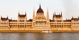 The Hungarian Parliament Building in Budapest, Hungary. The view of the Hungarian Parliament Building from the Danube in Budapest, Hungary Royalty Free Stock Photos