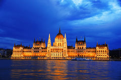 Hungarian Parliament Building in Budapest by night Stock Photography