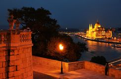The Hungarian Parliament Building of Budapest at night, seen from Gellert hill. Known as the Parliament of Budapest is a notable landmark of Hungary and a royalty free stock photo