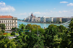 Hungarian parliament building Budapest scenic view Royalty Free Stock Photo