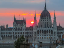 Hungarian Parliament building, Budapest. View of Hungarian Parliament at sunset, Budapest Hungary Stock Image