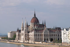 Hungarian Parliament building on Danube river Royalty Free Stock Image