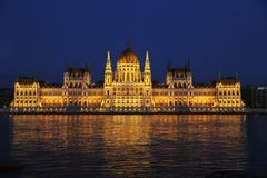 Hungarian Parliament building on the Danube River in Budapest Stock Photos