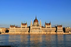 Hungarian Parliament building on the Danube River in Budapest Stock Image