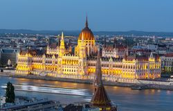 Hungarian Parliament Building and Danube river at dusk, Budapest, Hungary stock photo