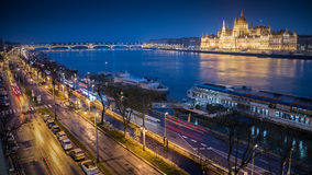 Hungarian Parliament building and danube river at night time , B Royalty Free Stock Photos
