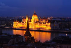 Hungarian Parliament Building at Dusk Royalty Free Stock Photo