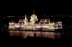 Hungarian Parliament Building. Illuminated at night, Budapest, Hungary Stock Photos