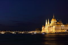 Hungarian Parliament Building and Margaret Bridge Royalty Free Stock Image