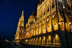 The Hungarian Parliament Building National Assembly of Hungary night shoot stock photography