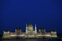 Hungarian Parliament Building by night Royalty Free Stock Photography