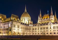 Hungarian Parliament Building at night, Budapest, Hungary stock photography