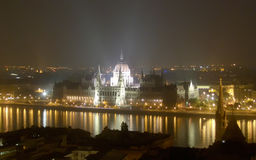 Hungarian Parliament Building at night, Budapest Stock Image