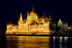Hungarian Parliament Building at Night Stock Photography