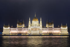 The Hungarian Parliament Building in the night Stock Image