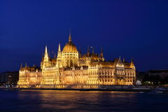 Hungarian Parliament Building 3. Night scene of Hungarian Parliament Building at the Danube River bank, viewed from the Chain Bridge, Budapest Royalty Free Stock Photo