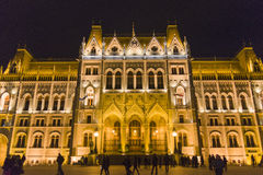 Hungarian parliament building at night Royalty Free Stock Photo