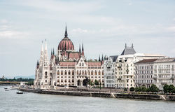 Hungarian parliament building - Orszaghaz and Danube river in Bu Royalty Free Stock Photos