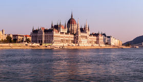 Hungarian Parliament Building, Pest, Hungary. Hungarian Parliament Building, Budapest, upstream view from Danube River, Hungary Stock Photography