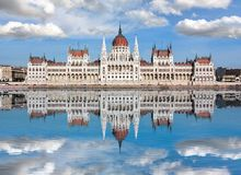 Hungarian Parliament Building with reflection in Danube river, Budapest, Hungary stock photography