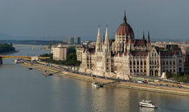 The Hungarian Parliament. The building of the Hungarian Parliament is the residence of the Hungarian Parliament on the banks of the Danube in Budapest. In its Stock Photos