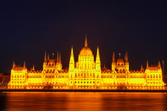 Night view of the illuminated building of the Hungarian Parliament in Budapest. Royalty Free Stock Photography