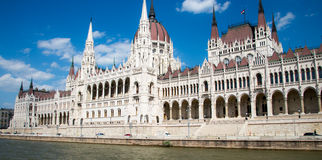Hungarian Parliament Building by side Stock Image