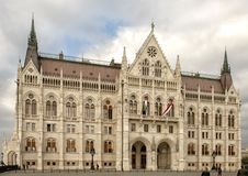 Hungarian Parliament Building from South End of Kossuth Square, Budapest, Hungary royalty free stock image