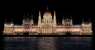 Hungarian Parliament Building View during Night Stock Images
