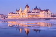 Hungarian parliament building at winter Stock Photo