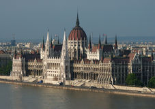 Hungarian Parliament by the Danube River. Hungarian Parliament (Parlament, Orsz�gh�z) standing by river Danube (Duna) in Budapest, Hungary, Europe Stock Images