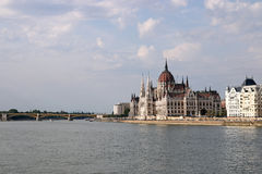 Hungarian Parliament on Danube river Budapest Stock Images