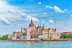 Hungarian Parliament at daytime. Budapest. View from Danube rive Stock Images