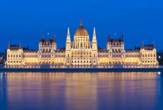 Hungarian parliament at dusk Royalty Free Stock Images
