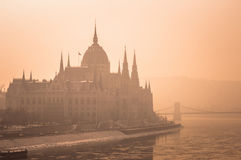 The hungarian parliament in fog Royalty Free Stock Image