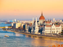 Hungarian Parliament historical building on Danube riverbank in Budapest, Hungary, Europe Stock Photos