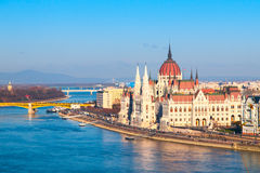 Hungarian Parliament historical building on Danube riverbank in Budapest, Hungary, Europe Royalty Free Stock Photos