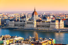 Hungarian Parliament historical building on Danube riverbank in Budapest, Hungary, Europe Royalty Free Stock Image