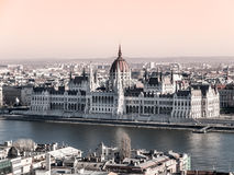 Hungarian Parliament historical building on Danube riverbank in Budapest, Hungary, Europe Royalty Free Stock Photo