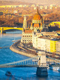 Hungarian Parliament historical building on Danube riverbank in Budapest, Hungary, Europe Royalty Free Stock Images