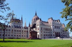 Hungarian parliament from the Kossuth square. Royalty Free Stock Images