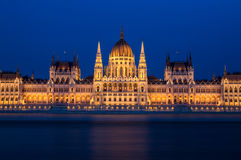 Hungarian Parliament. Long exposure shot from the Hungarian Parliament with the river Danube Royalty Free Stock Photography