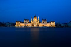 Hungarian Parliament. Long exposure shot from the Hungarian Parliament with the river Danube Royalty Free Stock Image