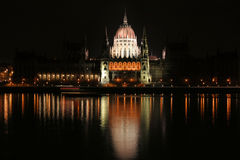 Hungarian Parliament at night Royalty Free Stock Photography