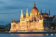 Hungarian parliament at night Royalty Free Stock Image