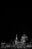 Hungarian Parliament at night. In Budapest - black and white Royalty Free Stock Photo