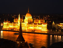 Hungarian parliament at night Stock Photos