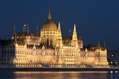 Hungarian parliament at night, Budapest Stock Photos