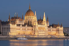 Hungarian parliament at night, Budapest Royalty Free Stock Photos